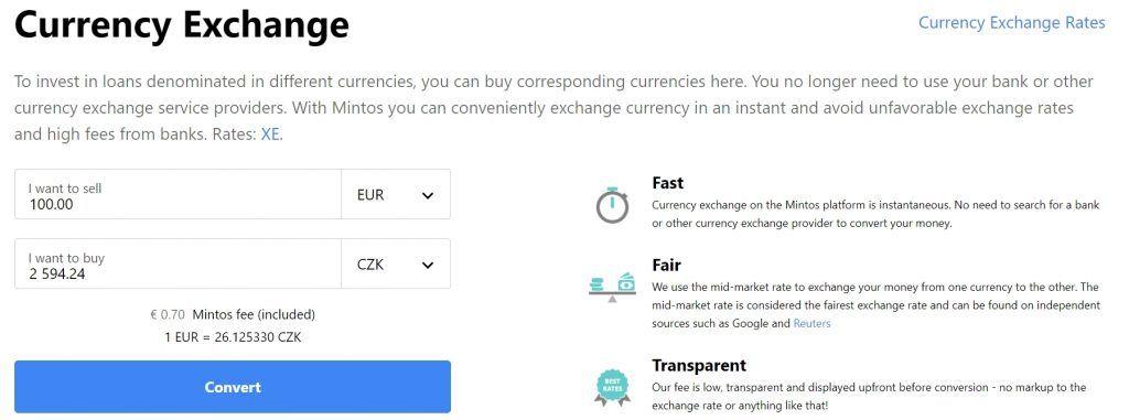 Online směnárna měn na tržišti Mintos