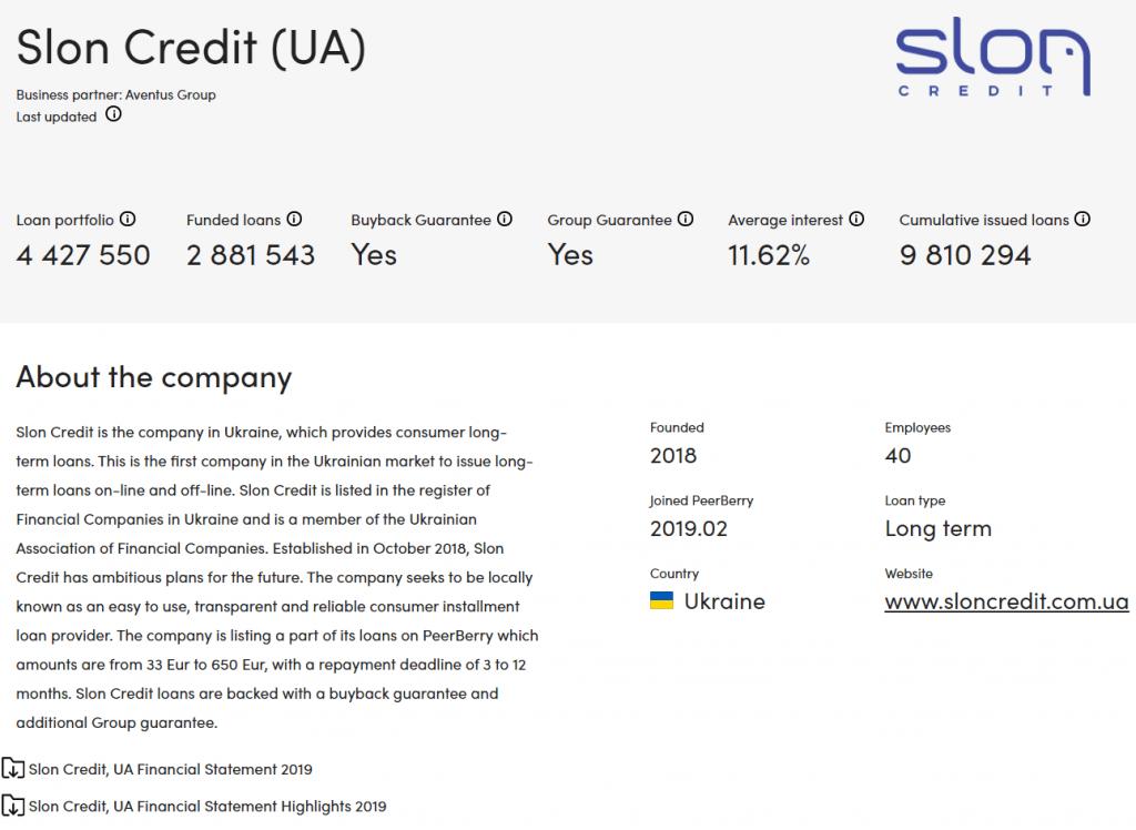 Stránka (sub)poskytovatele půjček obsahuje řadu informací