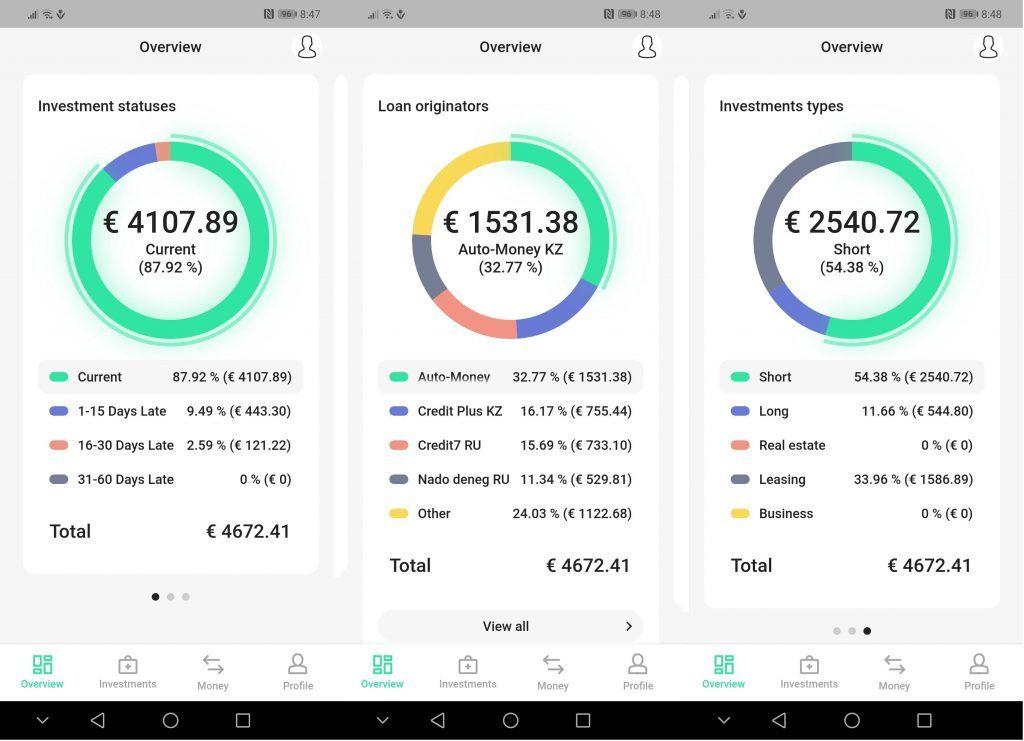 Peerberry mobilní aplikace - rozložení portfolia